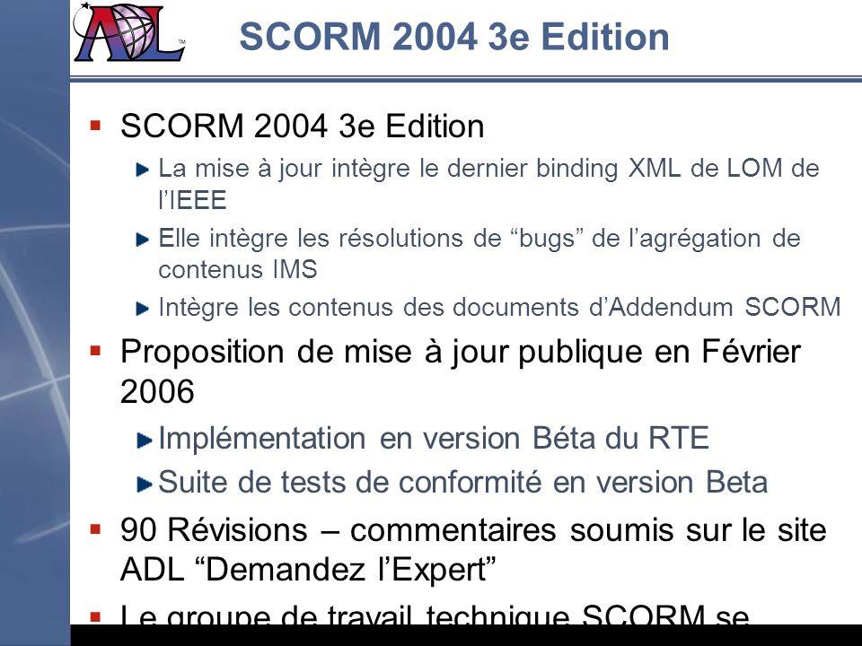 SCORM 2004 3e Edition La mise à jour intègre le dernier binding XML de LOM de lIEEE Elle intègre les résolutions de bugs de lagrégation de contenus IM