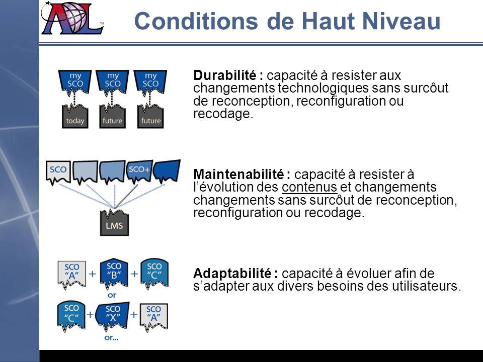 Durabilité : capacité à resister aux changements technologiques sans surcôut de reconception, reconfiguration ou recodage. Maintenabilité : capacité à
