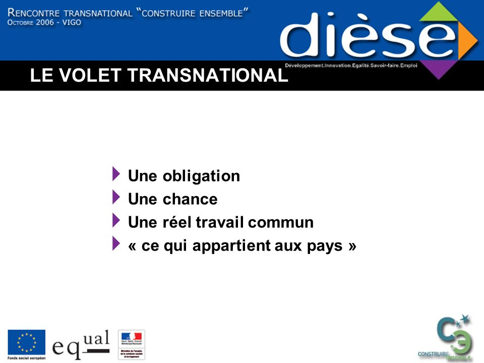 LE VOLET TRANSNATIONAL Une obligation Une chance Une réel travail commun « ce qui appartient aux pays »