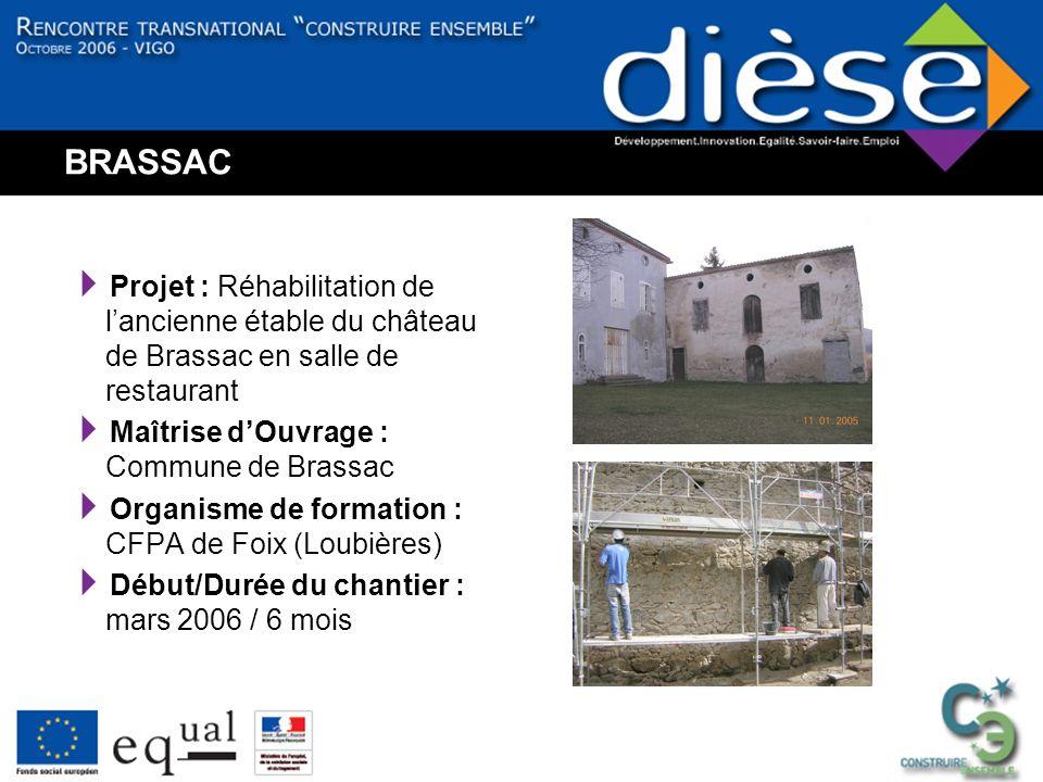 BRASSAC Projet : Réhabilitation de lancienne étable du château de Brassac en salle de restaurant Maîtrise dOuvrage : Commune de Brassac Organisme de formation : CFPA de Foix (Loubières) Début/Durée du chantier : mars 2006 / 6 mois