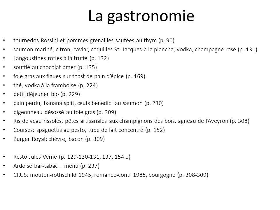 La gastronomie tournedos Rossini et pommes grenailles sautées au thym (p. 90) saumon mariné, citron, caviar, coquilles St.-Jacques à la plancha, vodka