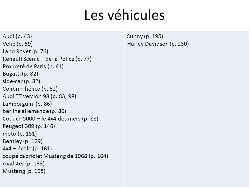 Les véhicules Audi (p. 43) Vélib (p. 59) Land Rover (p. 76) Renault Scenic – de la Police (p. 77) Propreté de Paris (p. 61) Bugatti (p. 82) side-car (