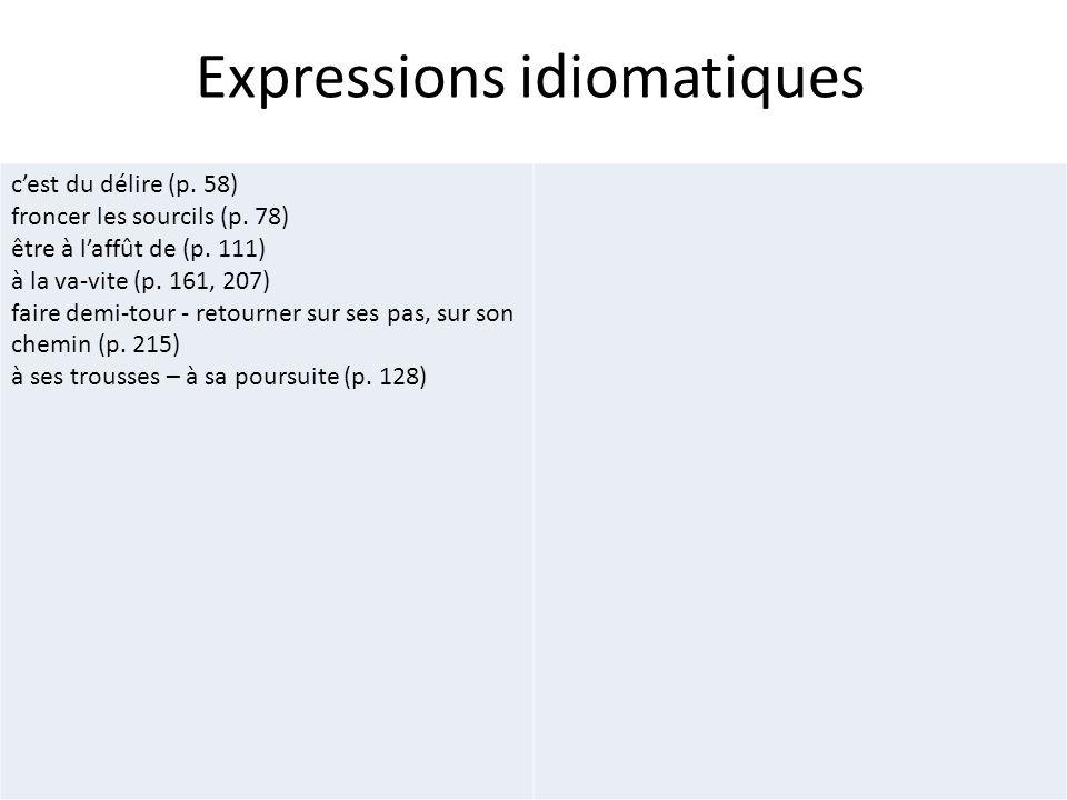 Expressions idiomatiques cest du délire (p. 58) froncer les sourcils (p. 78) être à laffût de (p. 111) à la va-vite (p. 161, 207) faire demi-tour - re