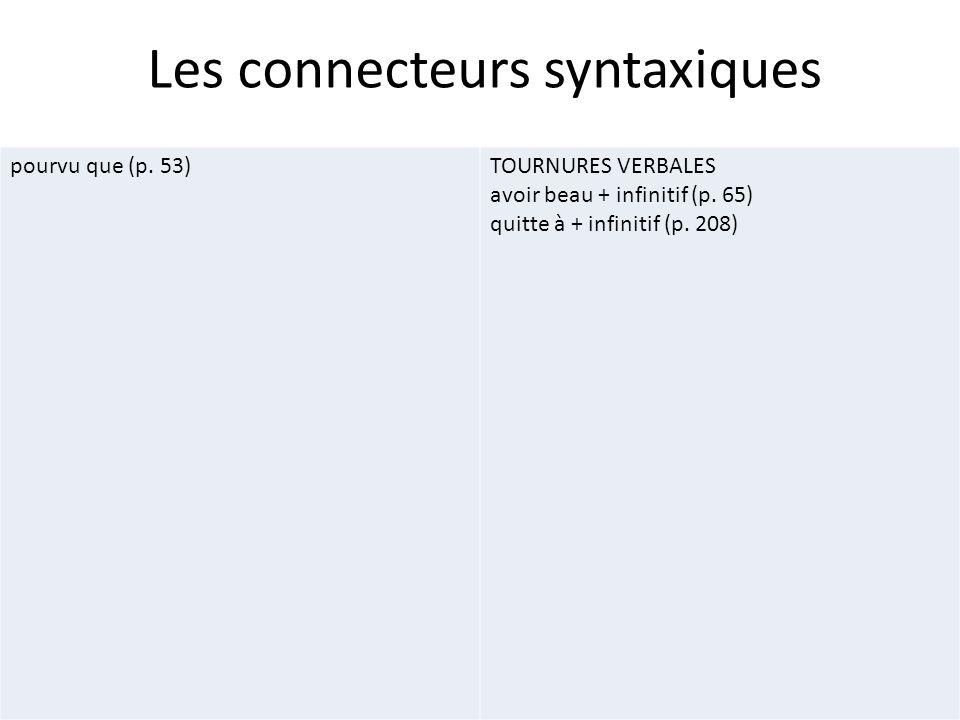 Les connecteurs syntaxiques pourvu que (p. 53)TOURNURES VERBALES avoir beau + infinitif (p. 65) quitte à + infinitif (p. 208)