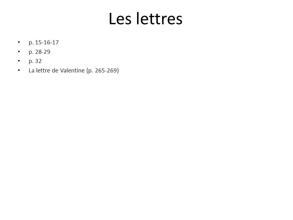 Les lettres p. 15-16-17 p. 28-29 p. 32 La lettre de Valentine (p. 265-269)