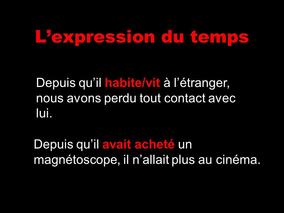 Lexpression du temps Depuis quil avait acheté un magnétoscope, il nallait plus au cinéma. Depuis quil habite/vit à létranger, nous avons perdu tout co