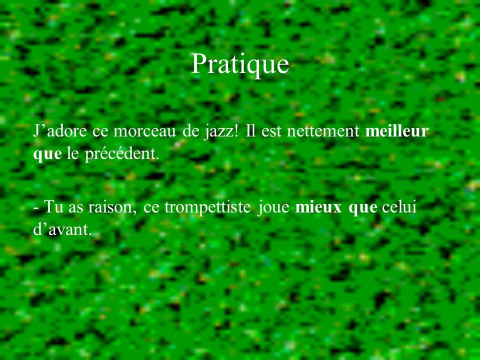 Pratique Jadore ce morceau de jazz. Il est nettement meilleur que le précédent.