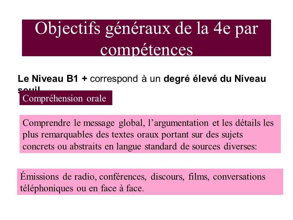 Objectifs généraux de la 4e par compétences Le Niveau B1 + correspond à un degré élevé du Niveau seuil.