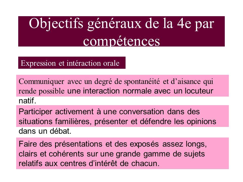 Objectifs généraux de la 4e par compétences Expression et intéraction orale Communiquer avec un degré de spontanéité et daisance qui rende possible une interaction normale avec un locuteur natif.