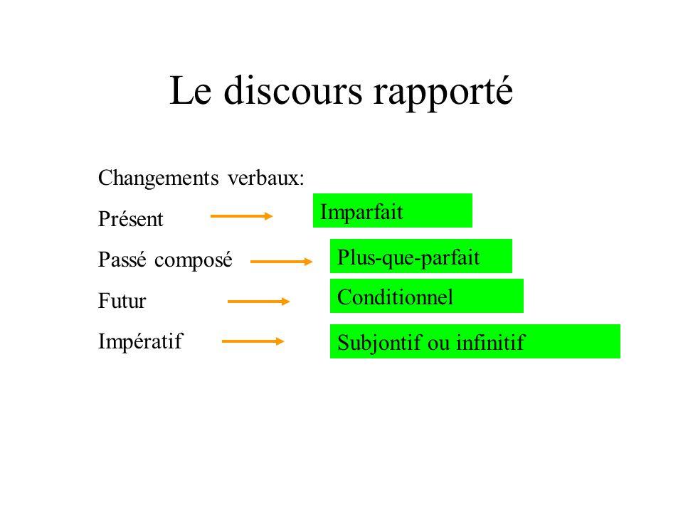 Le discours rapporté Changements verbaux: Présent Passé composé Futur Impératif Imparfait Plus-que-parfait Conditionnel Subjontif ou infinitif