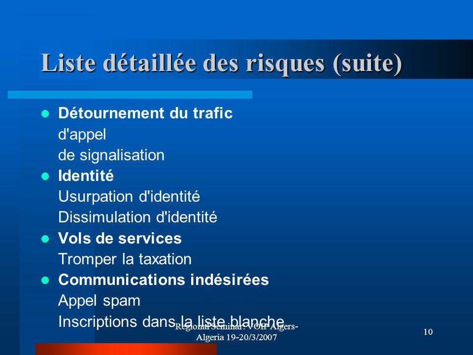 Regional Seminar: VOIP Algers- Algeria 19-20/3/2007 10 Liste détaillée des risques (suite) Détournement du trafic d'appel de signalisation Identité Us