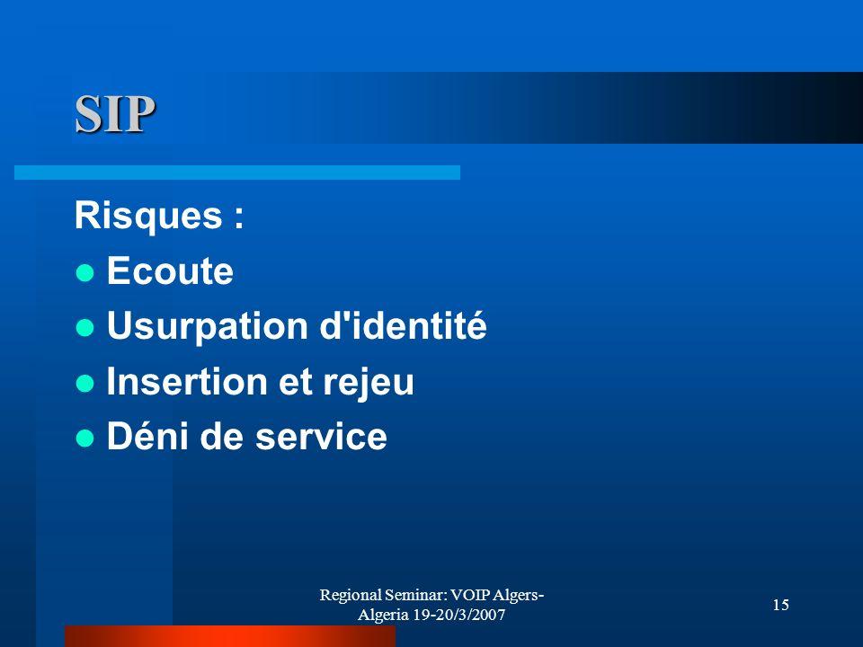 Regional Seminar: VOIP Algers- Algeria 19-20/3/2007 15 SIP Risques : Ecoute Usurpation d'identité Insertion et rejeu Déni de service