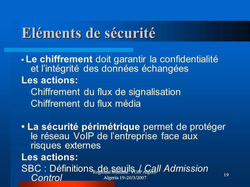 Regional Seminar: VOIP Algers- Algeria 19-20/3/2007 19 Eléments de sécurité Le chiffrement doit garantir la confidentialité et lintégrité des données