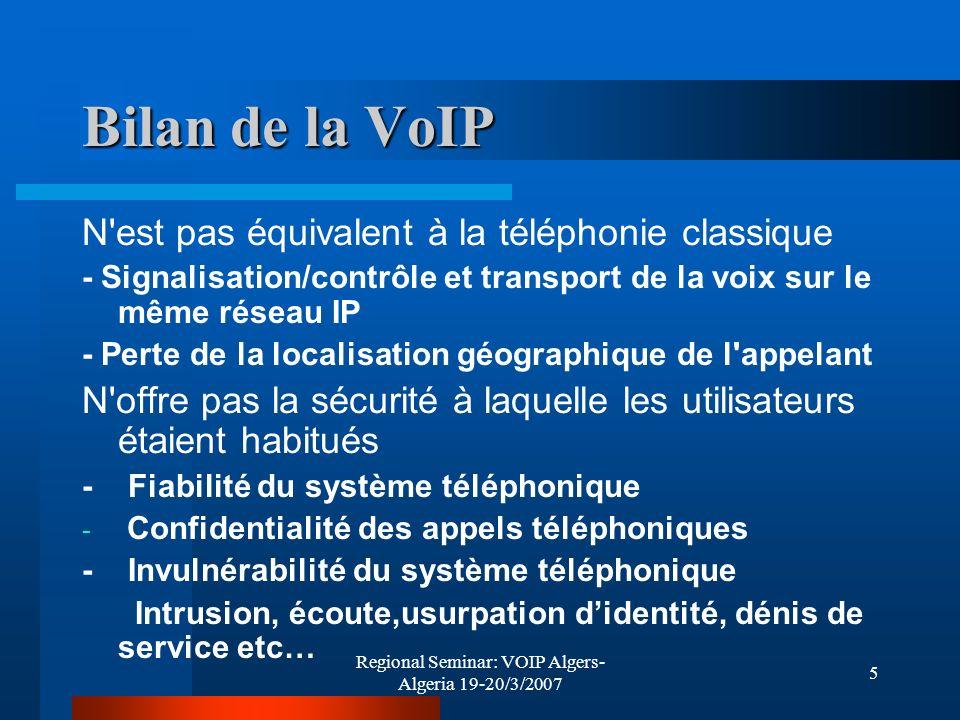 Regional Seminar: VOIP Algers- Algeria 19-20/3/2007 26 Bibliographie –Best Practices for VoIP-SIP Security Auteurs:Alistair Doswald (HEIG), Prof.
