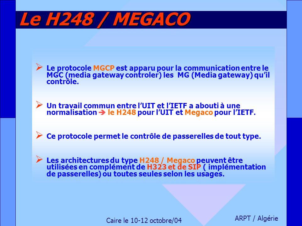 ARPT / Algérie Caire le 10-12 octobre/04 Le H248 / MEGACO Le protocole MGCP est apparu pour la communication entre le MGC (media gateway controler) le