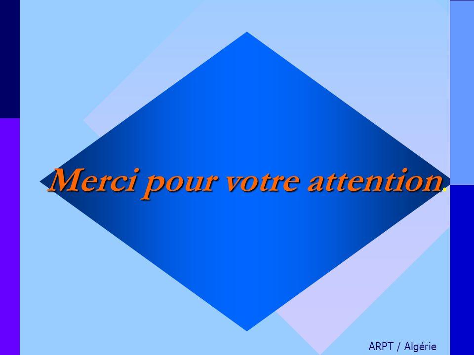 Merci pour votre attention Merci pour votre attention. ARPT / Algérie