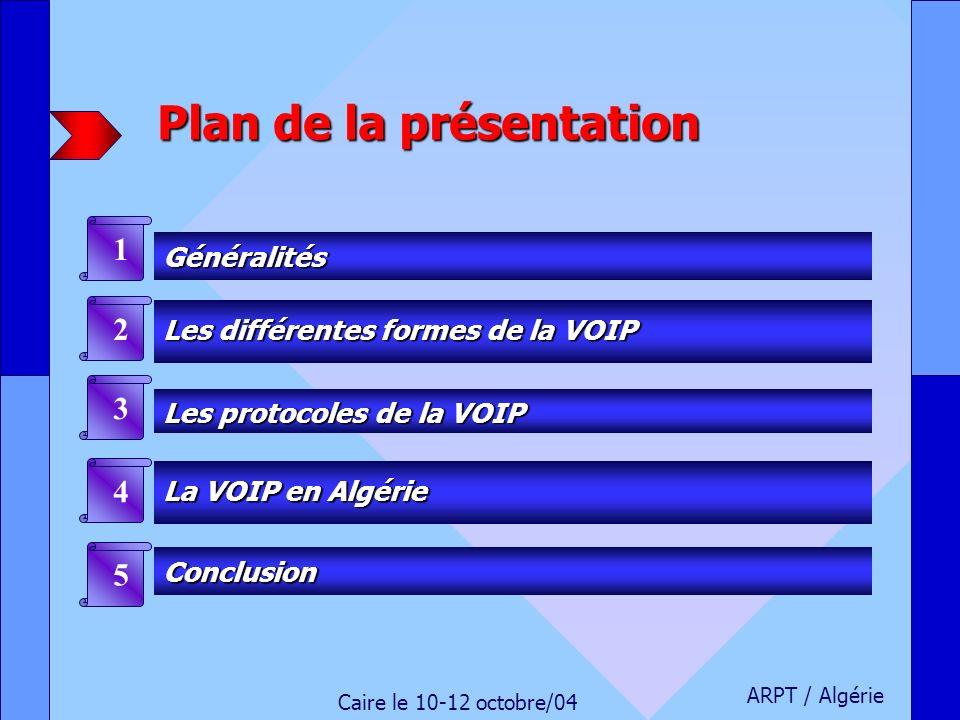 Plan de la présentation Généralités 1 Les différentes formes de la VOIP Les différentes formes de la VOIP 2 Les protocoles de la VOIP Les protocoles d