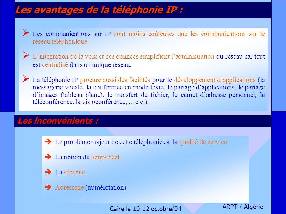 ARPT / Algérie Caire le 10-12 octobre/04 Les avantages de la téléphonie IP : Les communications sur IP sont moins coûteuses que les communications sur