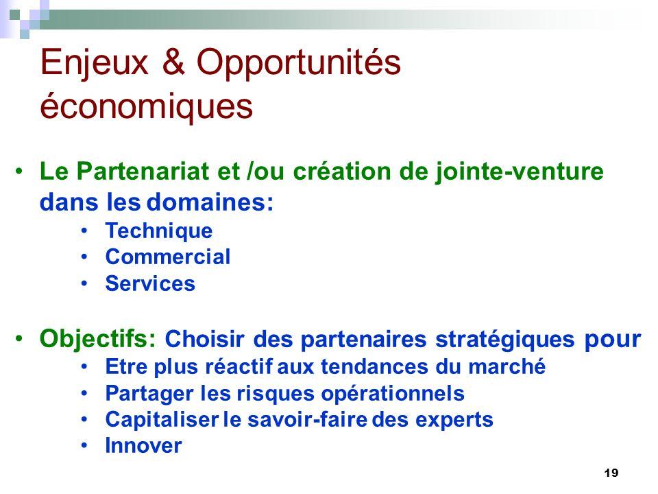 19 Le Partenariat et /ou création de jointe-venture dans lesdomaines: Technique Commercial Services Objectifs: Choisir des partenaires stratégiques po