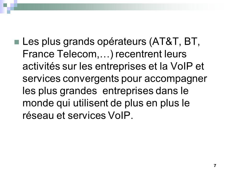 7 Les plus grands opérateurs (AT&T, BT, France Telecom,…) recentrent leurs activités sur les entreprises et la VoIP et services convergents pour accompagner les plus grandes entreprises dans le monde qui utilisent de plus en plus le réseau et services VoIP.