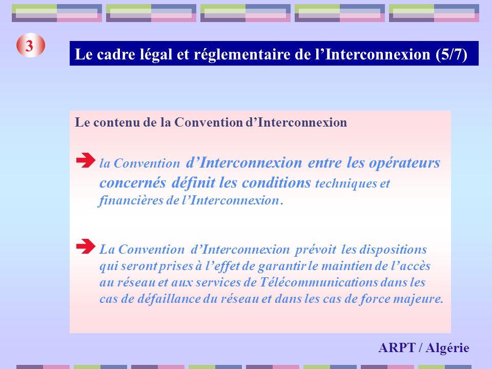 Le cadre légal et réglementaire de lInterconnexion (5/7) 3 Le contenu de la Convention dInterconnexion la Convention dInterconnexion entre les opérate