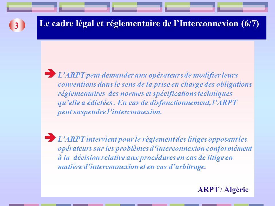 Le cadre légal et réglementaire de lInterconnexion (6/7) 3 LARPT peut demander aux opérateurs de modifier leurs conventions dans le sens de la prise e
