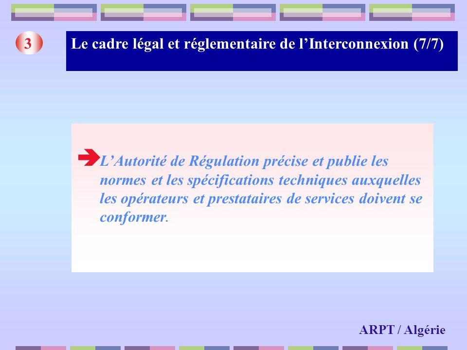 Le cadre légal et réglementaire de lInterconnexion (7/7)3 LAutorité de Régulation précise et publie les normes et les spécifications techniques auxque