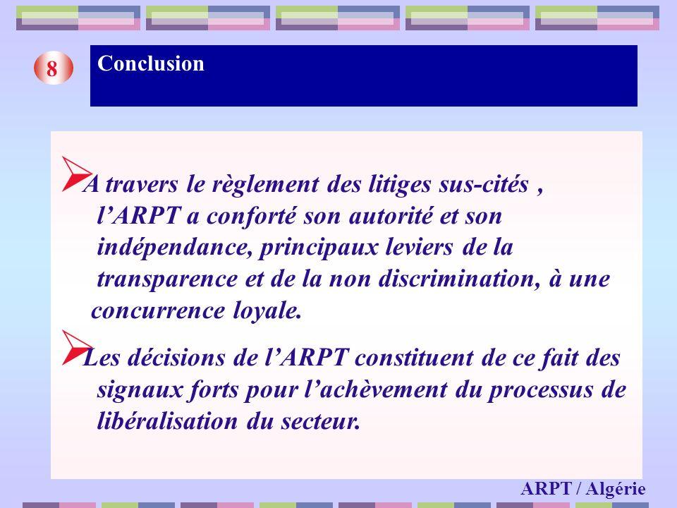 Conclusion 8 ARPT / Algérie A travers le règlement des litiges sus-cités, lARPT a conforté son autorité et son indépendance, principaux leviers de la