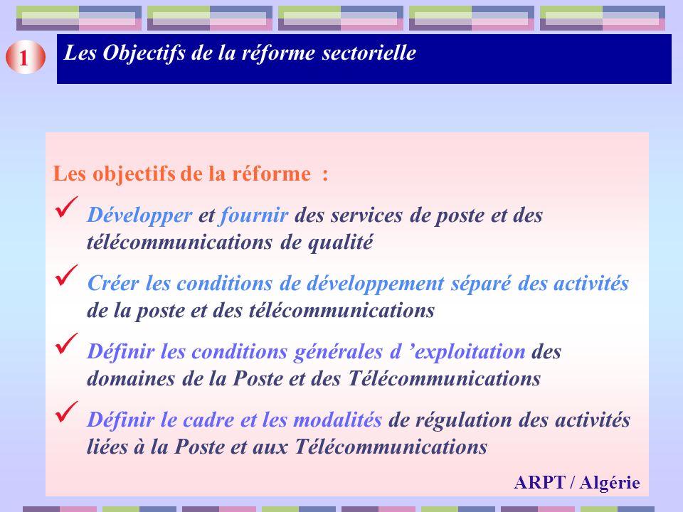 Les nouveaux acteurs (1/2) AVANT LA REFORME Monopole des secteurs postal et des Télécommunications (Ministère) A LA FAVEUR DES REFORMES - Au plan institutionnel Séparation des fonctions réglementaires et dexploitation Séparation des activités de la poste et des télécommunications - Au plan organisationnel Création en 2001 dune EPIC : ALGERIE POSTE Création en 2001 de la SPA :ALGERIE TELECOM ( AT) Entrée en 2001 sur le marché de la téléphonie mobile de l opérateur ORASCOM TELECOM ALGERIE (OTA) Filialisation d ALGERIE TELECOM MOBILE : MOBILIS en fin 2003 0ctroi en Décembre 2003 dune 3 ieme licence GSM à lopérateur WATANIA TELECOM ALGERIE (WTA) 2 ARPT / Algérie