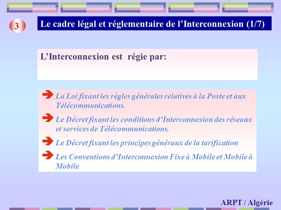 6 (*) La filialisation dAlgérie Télécoms Mobile (ATM) a été réalisée en fin dannée 2003 ARPT / Algérie Le marché de linterconnexion en Algérie (2/2) Nombre Points dinterconnexion Nombre de liaisons dinterconnexion (E1) Nombre de liaisons louées (E1) FixeMobileFixeMobile OTA 43333563645 ATM (*) ---