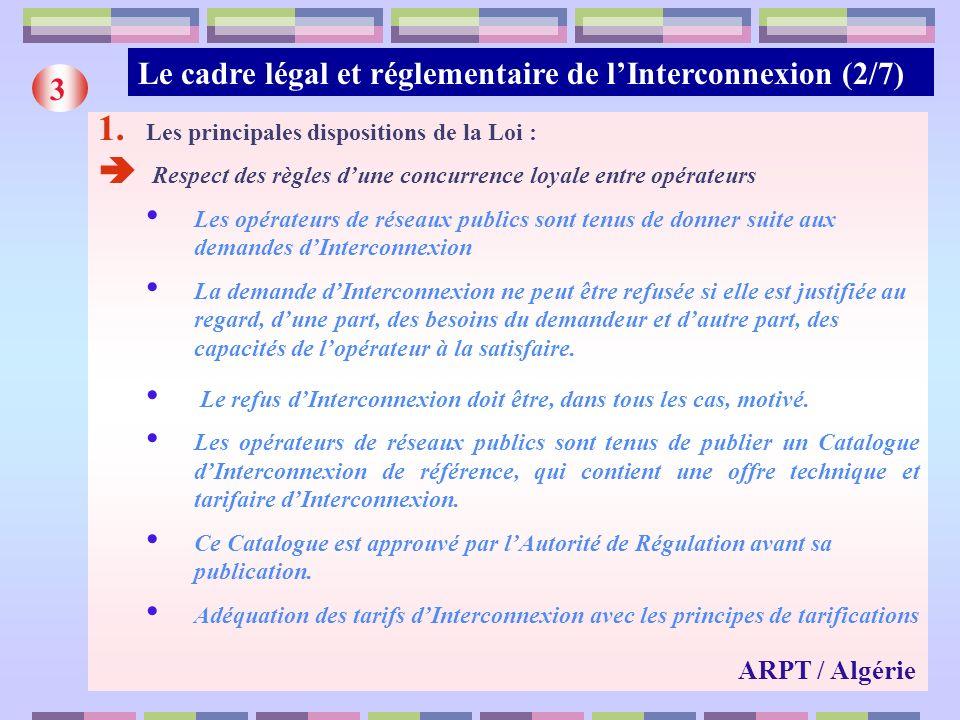 Le cadre légal et réglementaire de lInterconnexion (2/7) 3 1. Les principales dispositions de la Loi : Respect des règles dune concurrence loyale entr
