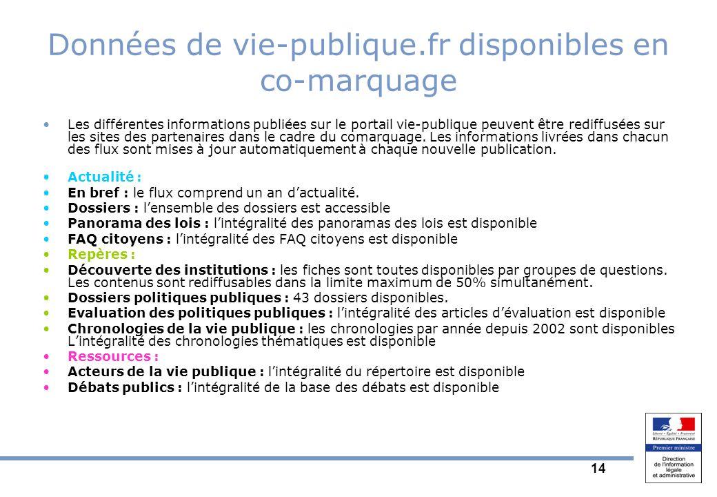 14 Données de vie-publique.fr disponibles en co-marquage Les différentes informations publiées sur le portail vie-publique peuvent être rediffusées sur les sites des partenaires dans le cadre du comarquage.