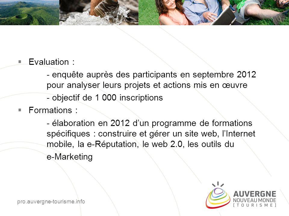 Evaluation : - enquête auprès des participants en septembre 2012 pour analyser leurs projets et actions mis en œuvre - objectif de 1 000 inscriptions