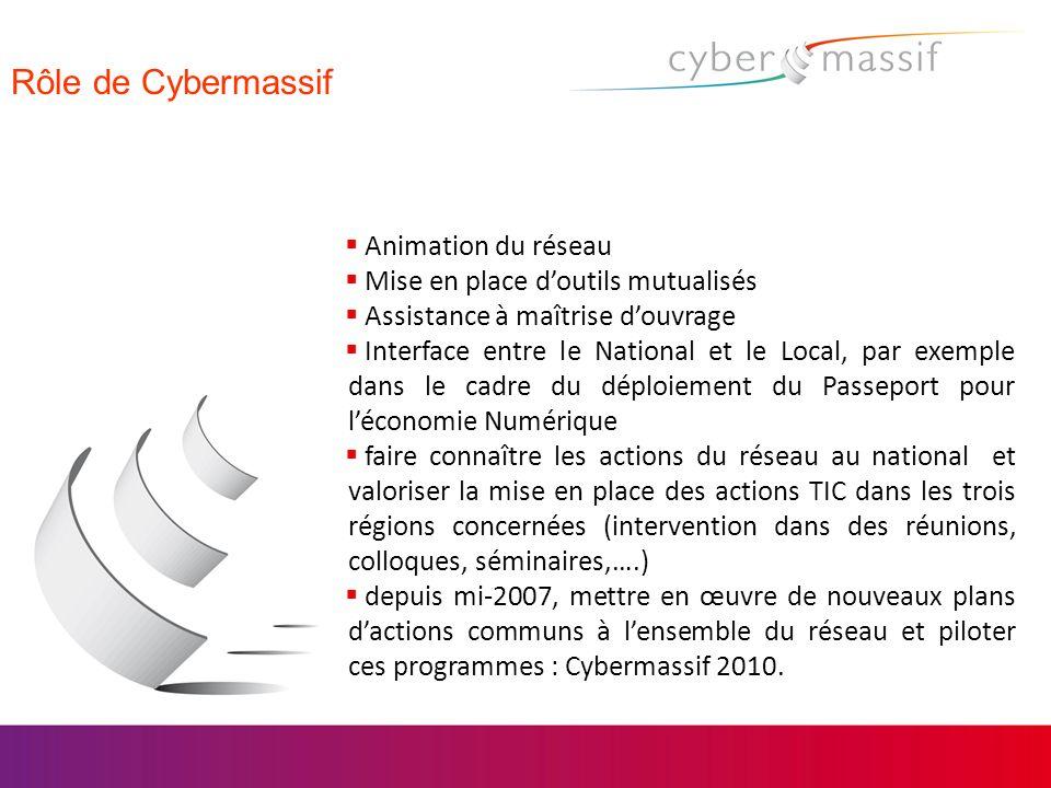 Rôle de Cybermassif Animation du réseau Mise en place doutils mutualisés Assistance à maîtrise douvrage Interface entre le National et le Local, par e