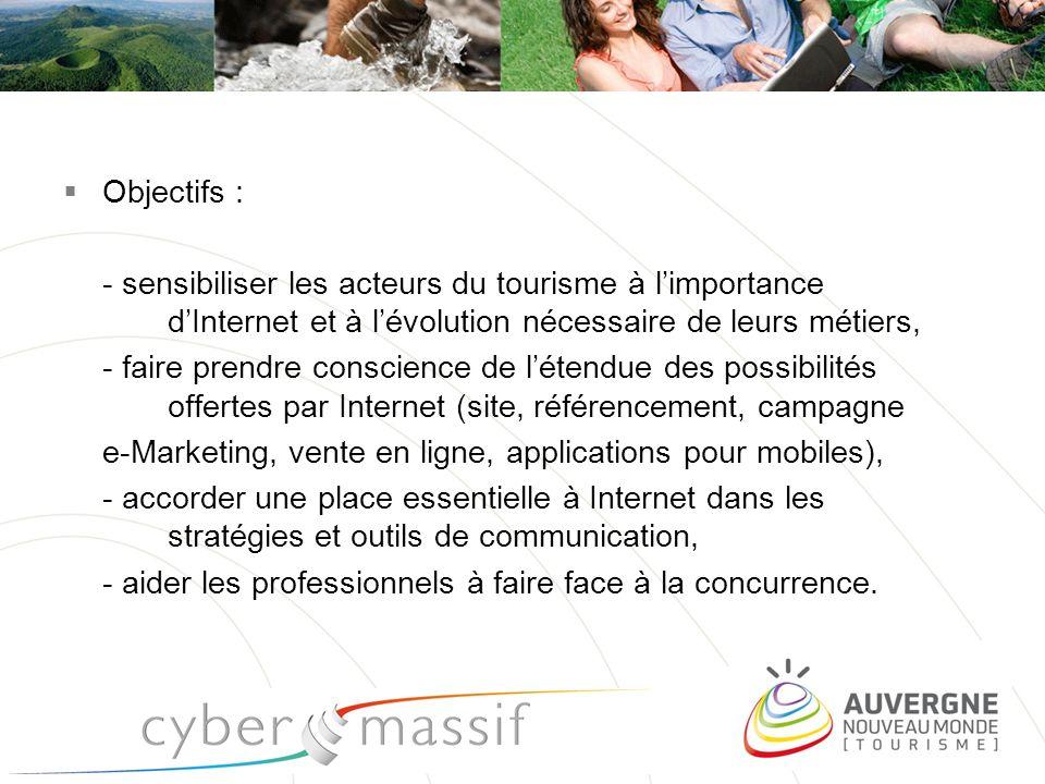 Objectifs : - sensibiliser les acteurs du tourisme à limportance dInternet et à lévolution nécessaire de leurs métiers, - faire prendre conscience de
