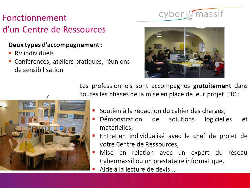 Fonctionnement dun Centre de Ressources Les professionnels sont accompagnés gratuitement dans toutes les phases de la mise en place de leur projet TIC