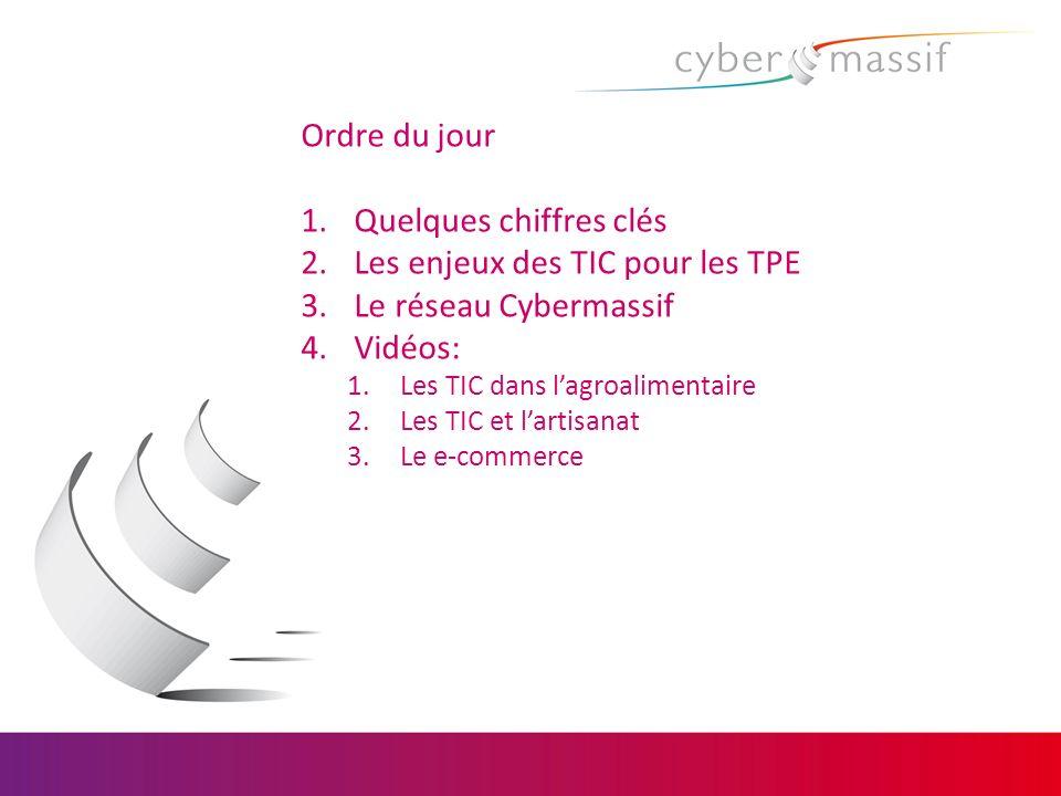 Ordre du jour 1.Quelques chiffres clés 2.Les enjeux des TIC pour les TPE 3.Le réseau Cybermassif 4.Vidéos: 1.Les TIC dans lagroalimentaire 2.Les TIC e