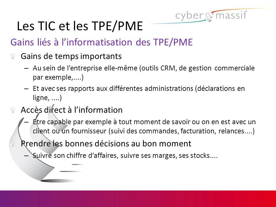 Les TIC et les TPE/PME Gains liés à linformatisation des TPE/PME Gains de temps importants – Au sein de lentreprise elle-même (outils CRM, de gestion