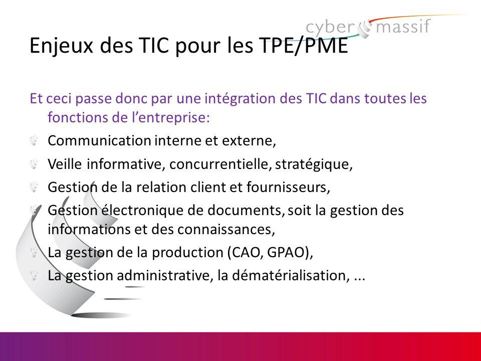 Enjeux des TIC pour les TPE/PME Et ceci passe donc par une intégration des TIC dans toutes les fonctions de lentreprise: Communication interne et exte
