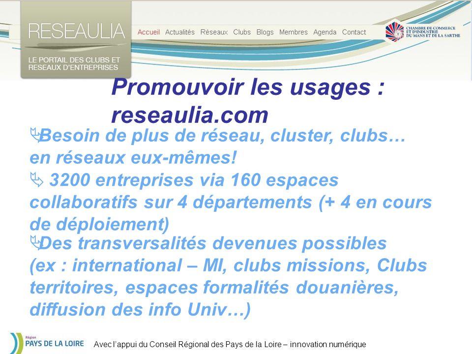 Avec lappui du Conseil Régional des Pays de la Loire – innovation numérique Promouvoir les usages : reseaulia.com Besoin de plus de réseau, cluster, clubs… en réseaux eux-mêmes.