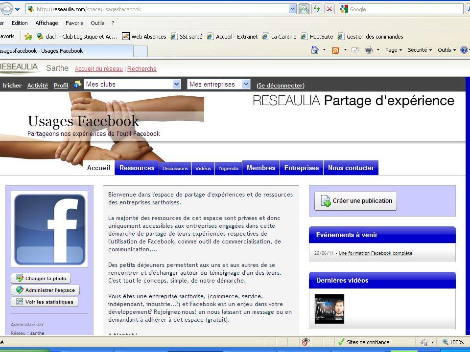 Promouvoir les usages : Facebook espace sur Reseaulia : usagesfacebook Permettre léchange autour de témoignages duages par des commerces/PME sarthoise