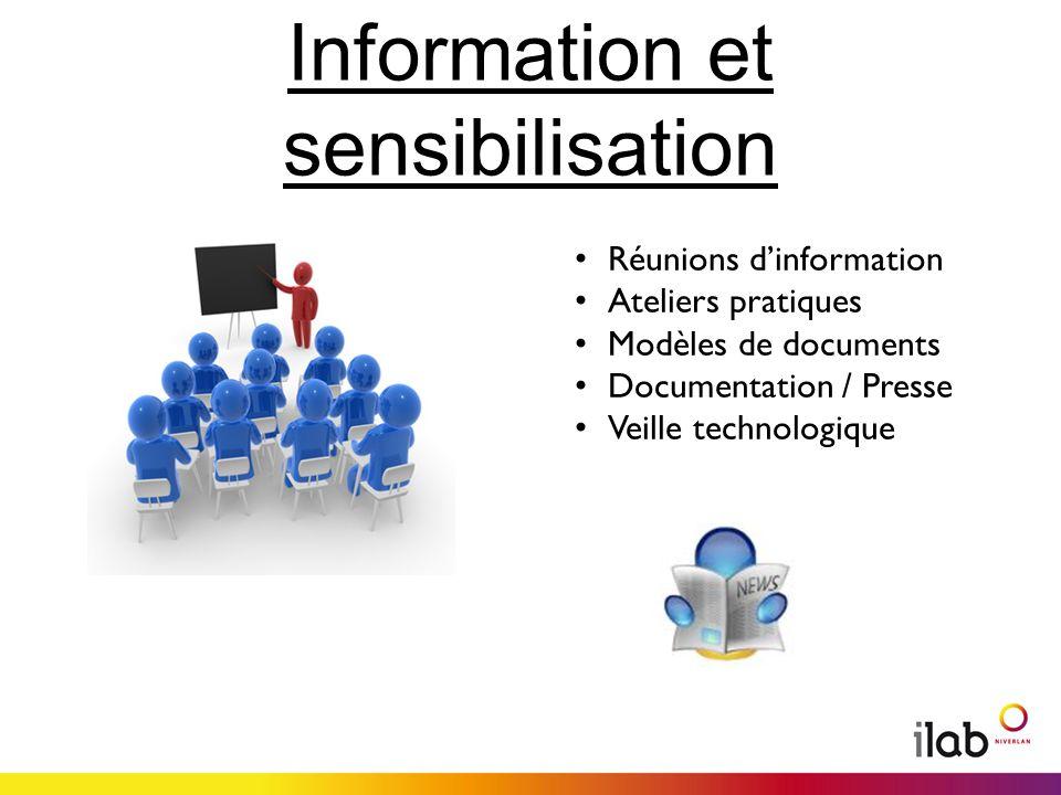 Information et sensibilisation Réunions dinformation Ateliers pratiques Modèles de documents Documentation / Presse Veille technologique