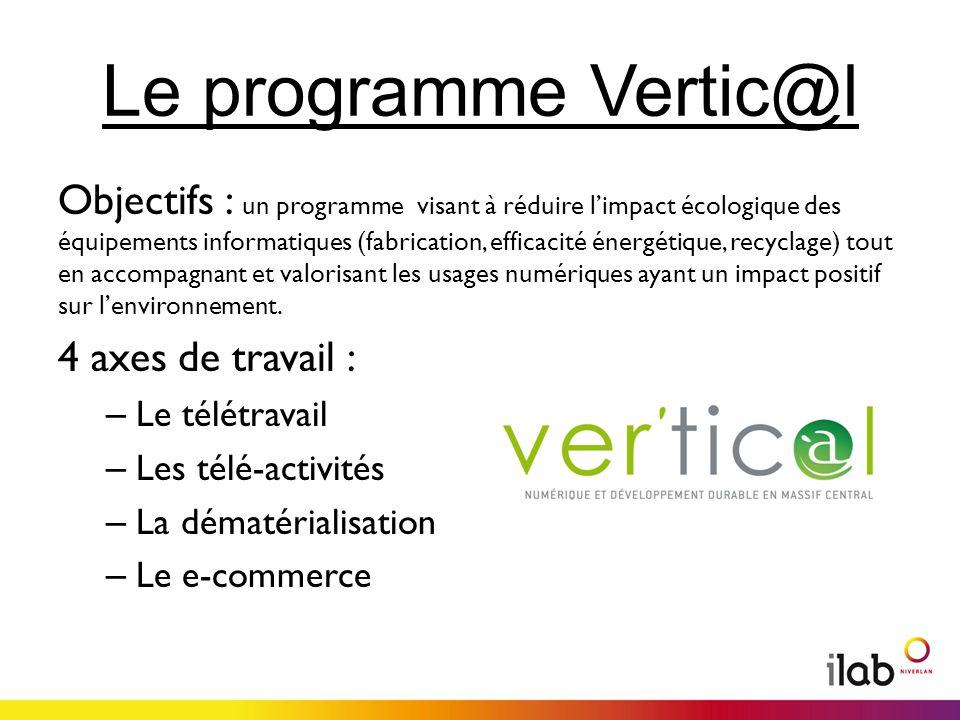 Le programme Vertic@l Objectifs : un programme visant à réduire limpact écologique des équipements informatiques (fabrication, efficacité énergétique, recyclage) tout en accompagnant et valorisant les usages numériques ayant un impact positif sur lenvironnement.