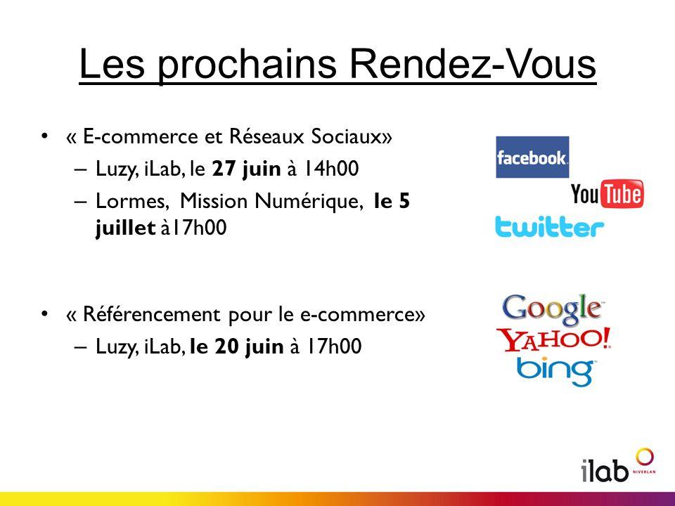 Les prochains Rendez-Vous « E-commerce et Réseaux Sociaux» – Luzy, iLab, le 27 juin à 14h00 – Lormes, Mission Numérique, le 5 juillet à17h00 « Référencement pour le e-commerce» – Luzy, iLab, le 20 juin à 17h00