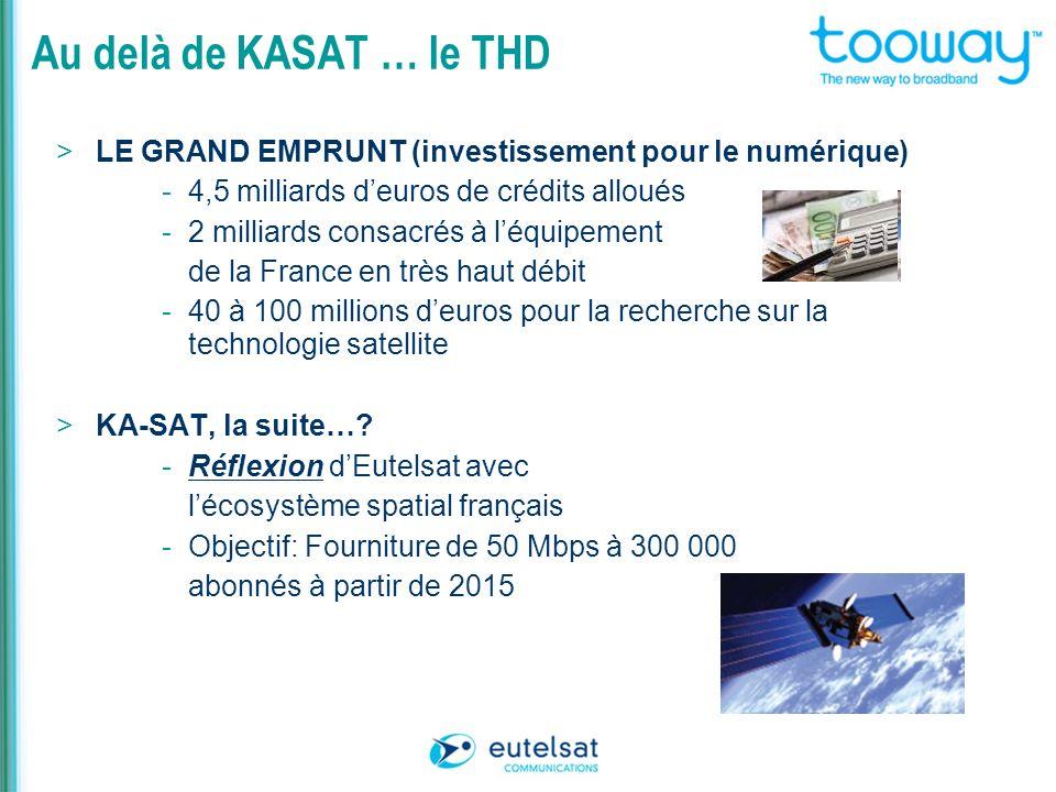 Au delà de KASAT … le THD > LE GRAND EMPRUNT (investissement pour le numérique) - 4,5 milliards deuros de crédits alloués - 2 milliards consacrés à lé