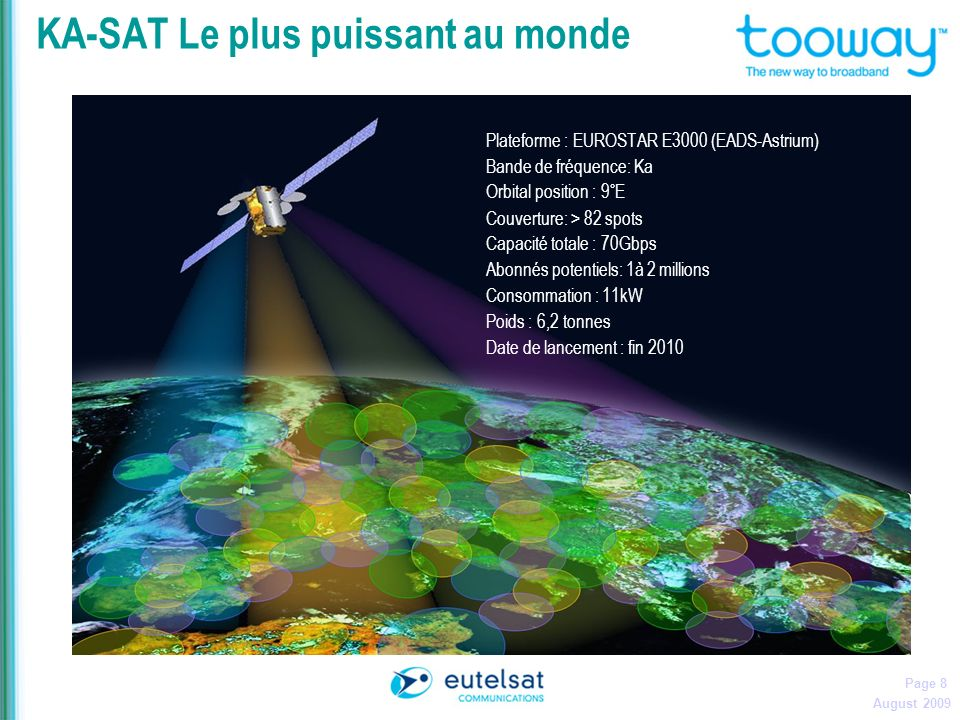 August 2009 Page 8 KA-SAT Le plus puissant au monde Plateforme : EUROSTAR E3000 (EADS-Astrium) Bande de fréquence: Ka Orbital position : 9°E Couvertur