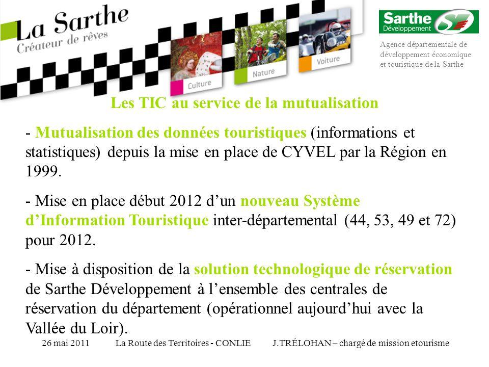 Agence départementale de développement économique et touristique de la Sarthe J.TRÉLOHAN – chargé de mission etourisme26 mai 2011La Route des Territoires - CONLIE M – Le M-Tourisme, enjeux et perspectives