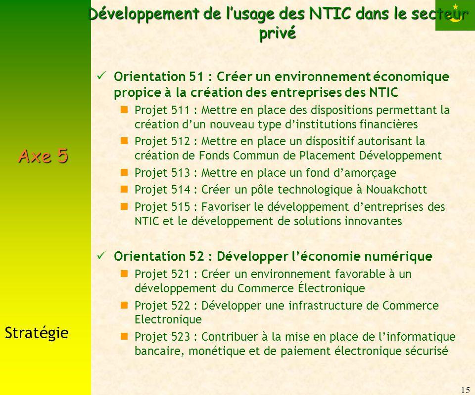 15 Développement de lusage des NTIC dans le secteur privé Orientation 51 : Créer un environnement économique propice à la création des entreprises des