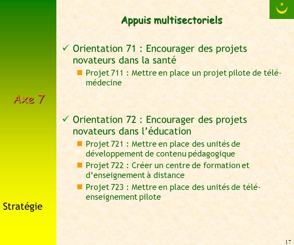 17 Appuis multisectoriels Orientation 71 : Encourager des projets novateurs dans la santé Projet 711 : Mettre en place un projet pilote de télé- médec