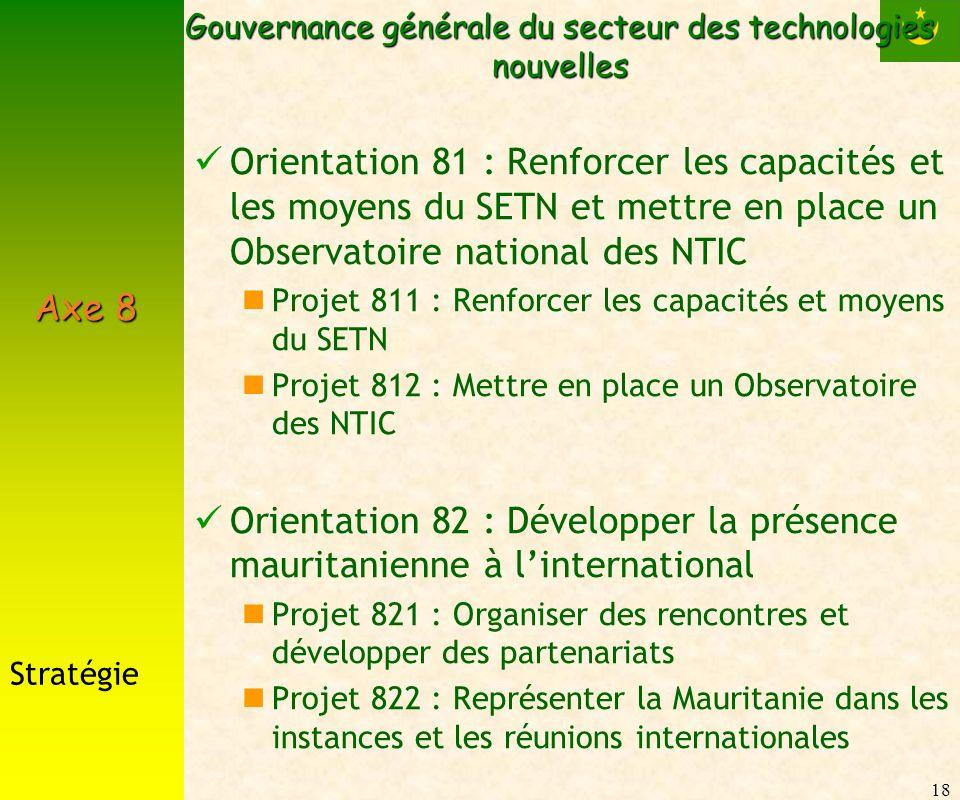 18 Gouvernance générale du secteur des technologies nouvelles Orientation 81 : Renforcer les capacités et les moyens du SETN et mettre en place un Obs